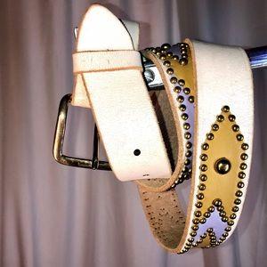 Handmade leather brass custom western belt vintage
